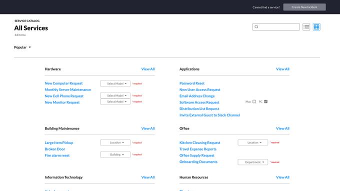 service catalog form